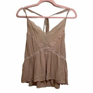 American Eagle Outfitters Blush Back Tie Tank Top
